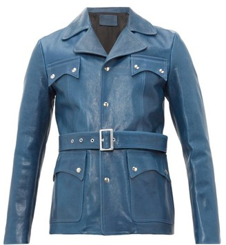 Givenchy Belted Leather Jacket - Mens - Blue