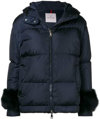 Moncler fur-embellished down jacket