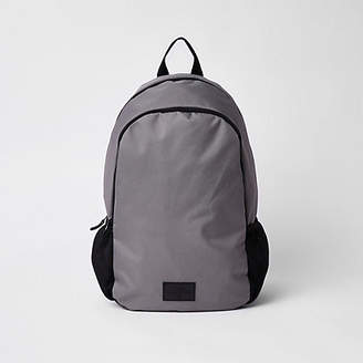 River Island Grey double zip compartment backpack