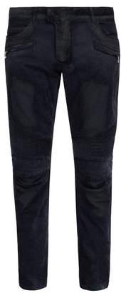 Balmain Slim Leg Crushed Velvet Biker Jeans - Mens - Navy