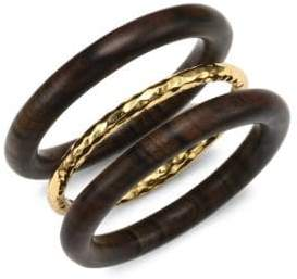 Nest Oxford Set of Three Gold and Wood Bangles