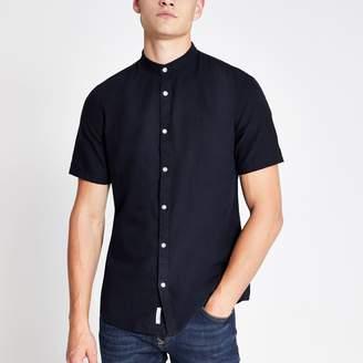 River Island Mens Navy wasp embroidered grandad Oxford shirt