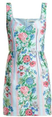 Emilia Wickstead Judita Floral Print Cloque Dress - Womens - Blue Multi