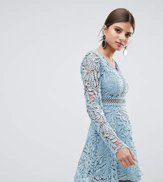boohoo Crochet Lace Long Sleeve Skater Dress