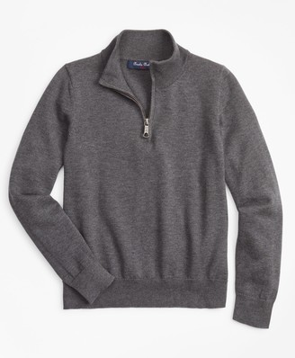 Brooks Brothers Boys Supima Cotton Half-Zip Sweater
