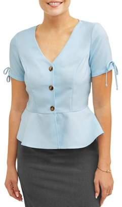 SHIRA PEARLA Women's Button Detail Peplum Top