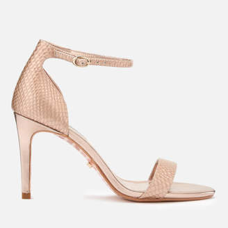 1dff1d0ff4c Dune Women s Mortimer Leather Barely There Heeled Sandals - Rose Gold