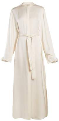 The Row Norah Stand Collar Tie Waist Satin Gown - Womens - Ivory
