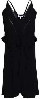 IRO Bercey Lace-trimmed Ruffled Crepe Mini Dress