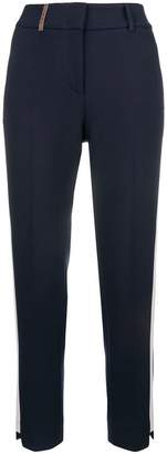 Peserico side stripe cropped trousers