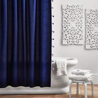 Pottery Barn Teen Color On Color Tassel Shower Curtain, Royal Navy/Lavender