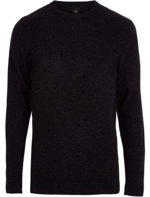 River Island Mens Big and Tall navy textured crew neck sweater
