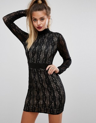 PrettyLittleThing High Neck Lace Mini Dress $49 thestylecure.com