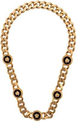 Black Enamel Quint Medallion Necklace