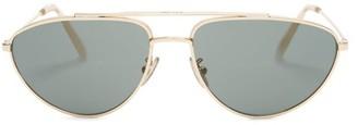Celine Aviator Metal Sunglasses - Womens - Green Gold