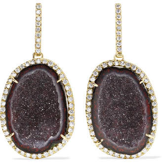 Kimberly McDonald - 18-karat Green Gold, Geode And Diamond Earrings