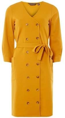 Dorothy Perkins Womens **Tall Yellow Horn Button Shift Dress