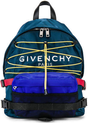 Givenchy Hiking Logo Backpack in Blue & Yellow | FWRD
