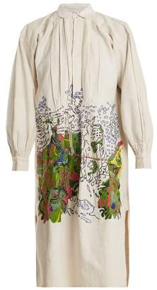 Kilometre Paris - Costa Careyes Embroidered Linen Shirtdress - Womens - Multi