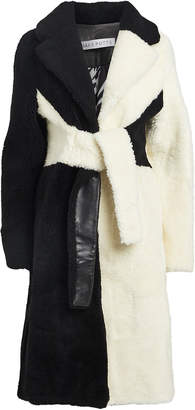 Saks Potts Wrapis Colorblocked Shearling Coat
