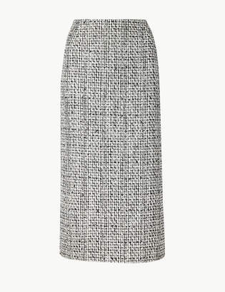 Marks and Spencer Cotton Blend Checked Pencil Skirt