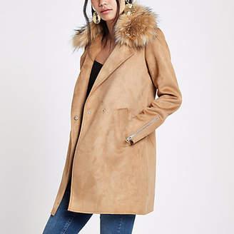 River Island Womens Brown faux fur collar swing coat