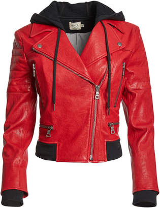 Alice + Olivia AVRIL HOOD COMBO LEATHER JACKET