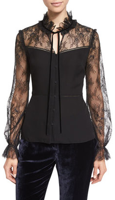 Elie Tahari Cecille Long-Sleeve Tie-Neck Silk Blouse, Black $348 thestylecure.com