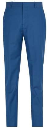 Alexander McQueen Mid Rise Slim Leg Wool Blend Trousers - Mens - Light Blue