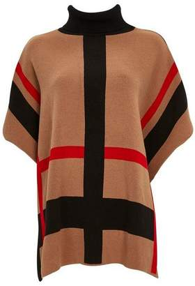 Wallis Camel Checked Roll Neck Poncho