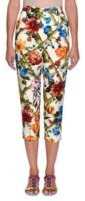 Dolce & Gabbana Cropped Floral Bamboo-Print Cotton-Silk Pants