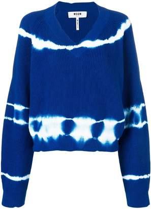 MSGM v-neck tie-dye sweater