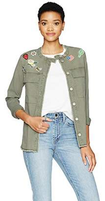 William Rast Women's Willliam Knotto Shirt Jacket with Patches
