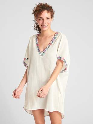 Gap Dreamwell Crinkle Embroidered V-Neck Tunic Cover-Up
