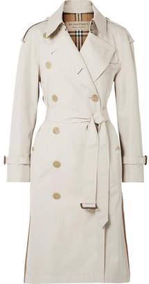 Burberry The Trecastle Striped Cotton-gabardine Trench Coat - Beige