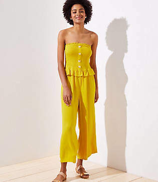LOFT Beach Smocked Strapless Jumpsuit
