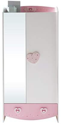 Anastasia Beverly Hills 228910 2-Door 1-Drawer 1-Mirror Wardrobe, MDF, Pink, 89 x 50 x 185 cm
