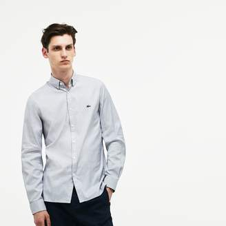 Lacoste Men's Slim Fit Striped Stretch Cotton Pinpoint Shirt