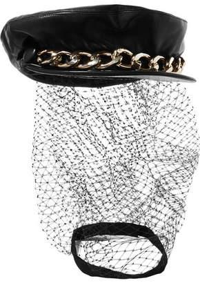 Eugenia Kim Marina Chain-embellished Tulle And Leather Cap - Black