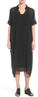 Women's Eileen Fisher Sheer Silk Georgette Shift Dress $448 thestylecure.com