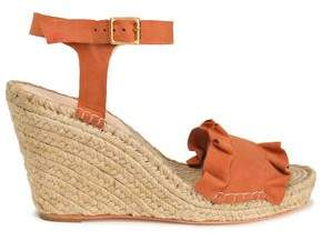 Loeffler Randall Gabby Ruffled Suede Espadrille Wedge Sandals