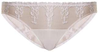 Fleur of England Colette Embroidered Tulle And Satin Briefs - Womens - White
