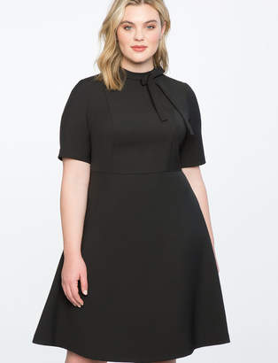 Fit And Flare Work Dress With Bow