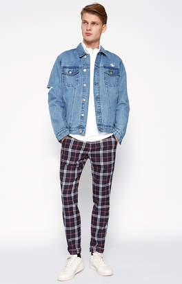 Pacsun Skinny Plaid Cropped Black Chino Pants
