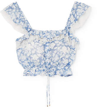LoveShackFancy Mia Ruffled Floral-print Cotton And Silk-blend Voile Top - Blue