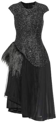 Simone Rocha Wool-blend dress with faux fur