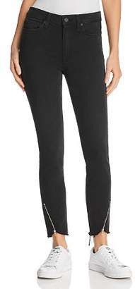 Paige Hoxton Ankle Peg Zip-Hem Jeans in Black Fog