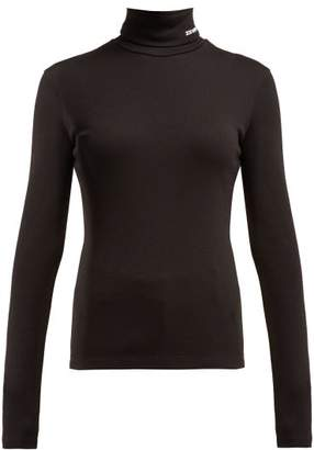 Calvin Klein Logo Embroidered Roll Neck Wool Sweater - Womens - Black