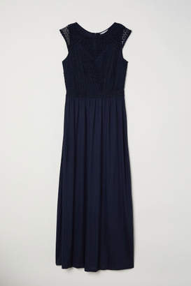 H&M Long Dress with Lace Bodice - Blue