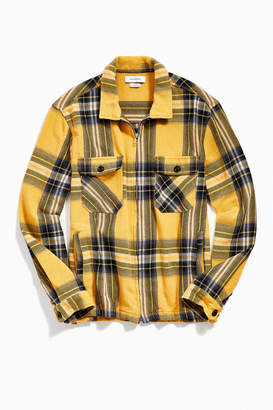 Urban Outfitters Big Twill Plaid Ryder Zip Shirt